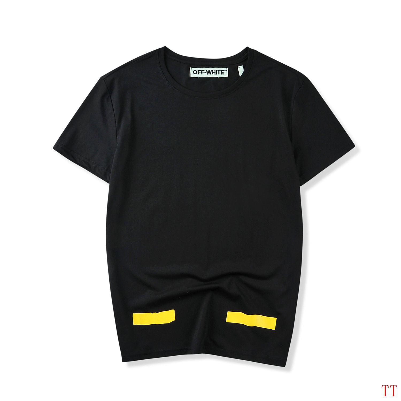 off white 短t 2017新款 箭头纯色时尚男生圆领短袖t恤 黑色