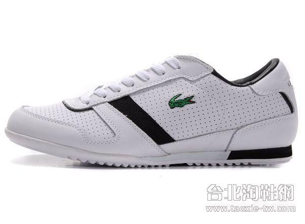 lacoste鳄鱼牌 男鞋 白黑色黑边板鞋