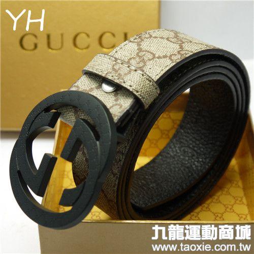 gucci皮带 黑色扣头 古典花纹热卖新款卡其色皮带