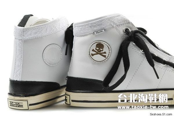 visvim 帆船鞋 白黑色骷髅头版男鞋