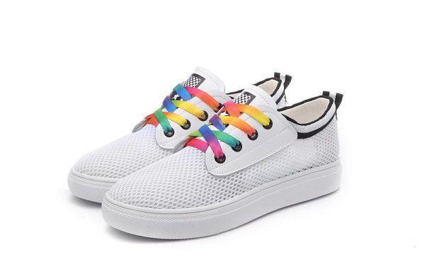 renben shoes 新款上市 王菲同款彩虹鞋带时尚镂空小白鞋 白黑色图片