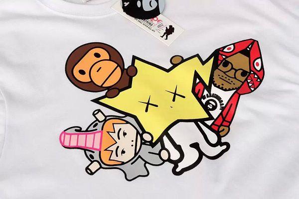 aape短t 猿人头小猴子卡通星星印花时尚男装 4002款白色